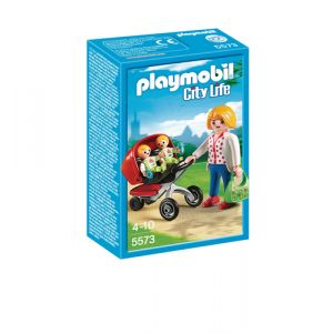 Playmobil City Life Mother with Twin Stroller