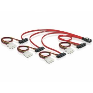 DeLOCK Cable mini SAS 36pin to 4x SAS 29pin câble SCSI Rouge 0,5 m