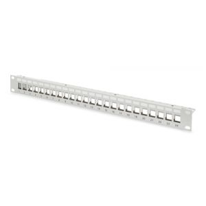 Digitus Modulares Patch Panel, geschirmt 24-Port, blank, 1HE, Rack Mount Farbe Grau RAL 7035