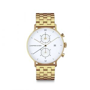 "Kapten & Son Chrono Small Gold ""Steel"" Quarz Armbanduhr Unisex"